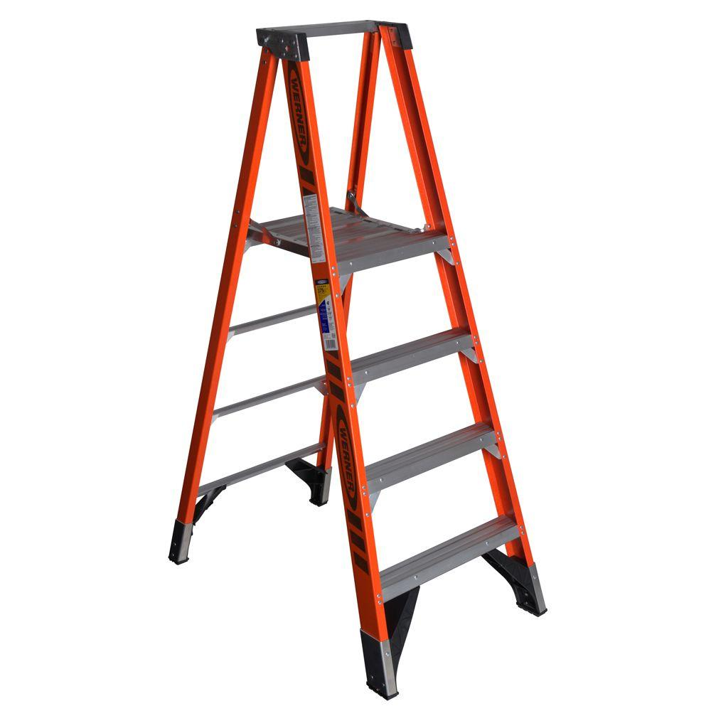 Werner 4 Ft Fiberglplatform Step Ladder With 375 Lb Load Capacity Type Iaa