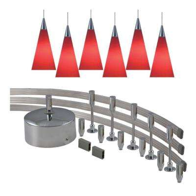 144 in. Low-Voltage 300-Watt Monorail Kit with 6 Red Pendants