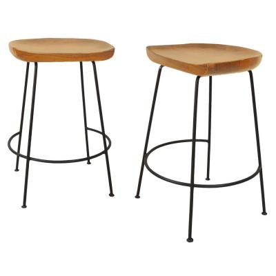 Diya 25 in. Natural Stationary Stool (Set of 2)