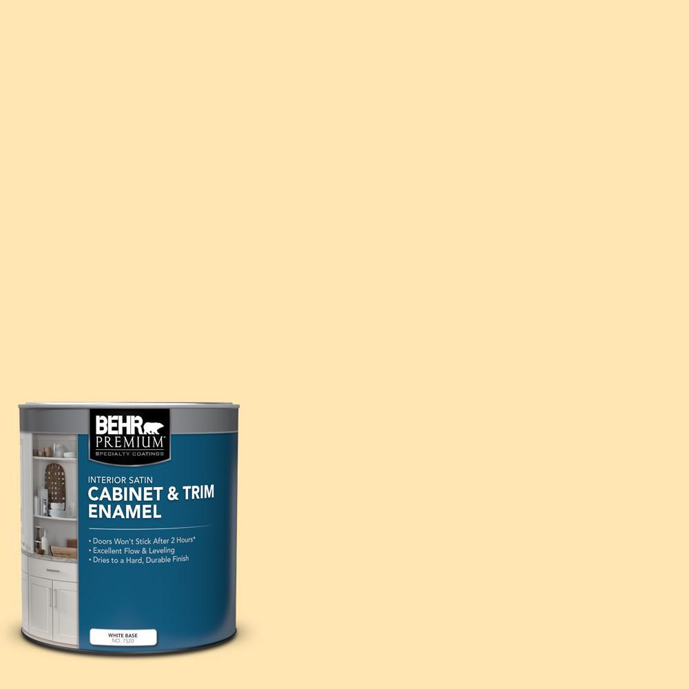 Behr Premium 1 Qt P260 3 Vanilla Ice Cream Satin Enamel Interior Cabinet And Trim Paint 752004 The Home Depot