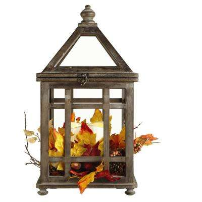 20.75 in. Windowpane Wood Lantern with LED Lights