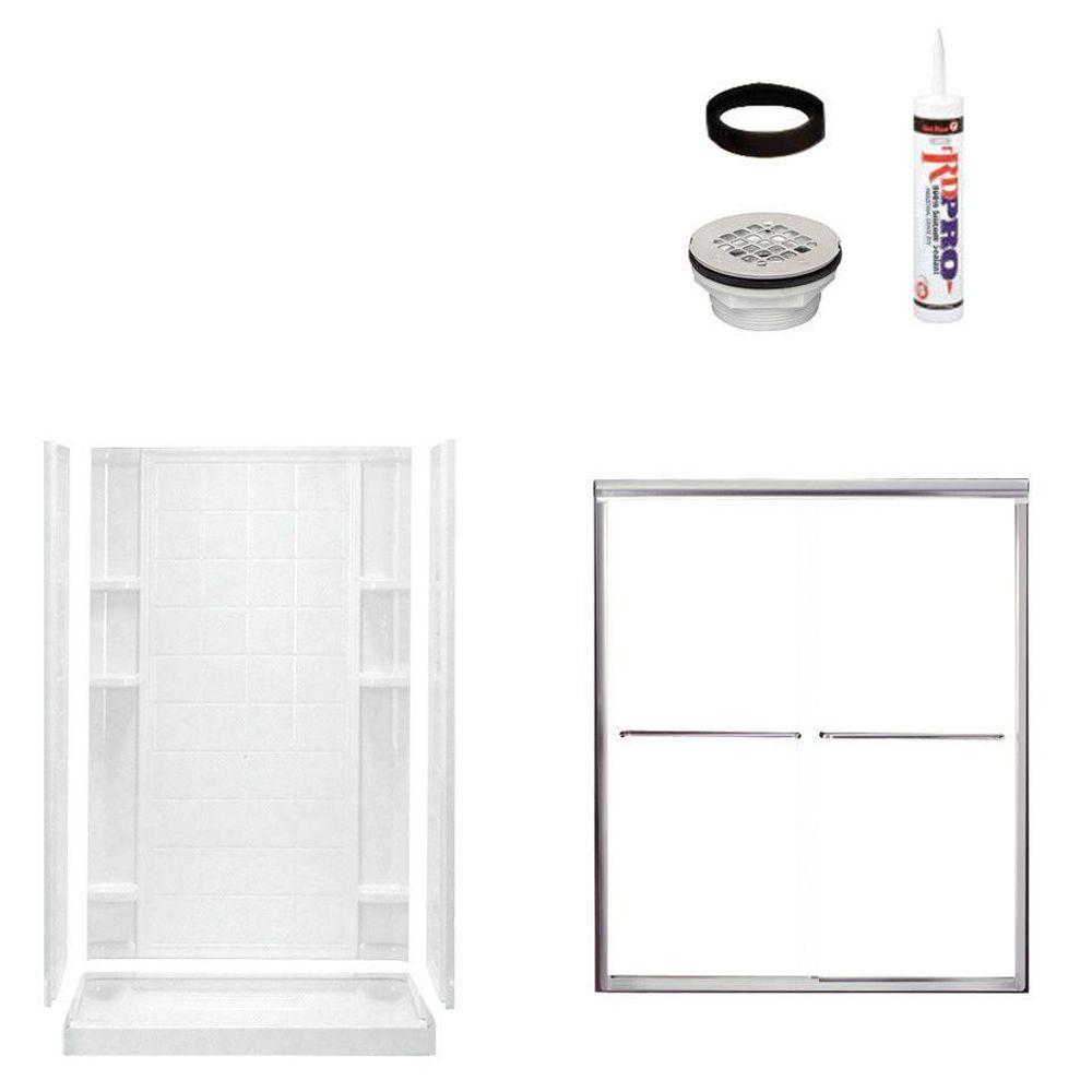 STERLING Ensemble Tile 48 in. x 34 in. x 75-3/4 in. Shower Kit with Shower Door in White/Chrome-DISCONTINUED