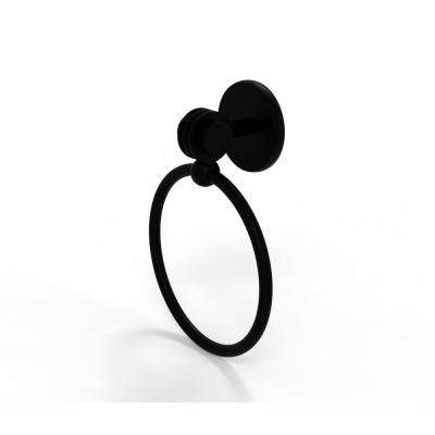 Satellite Orbit Two Collection Towel Ring with Dotted Accent in Matte Black
