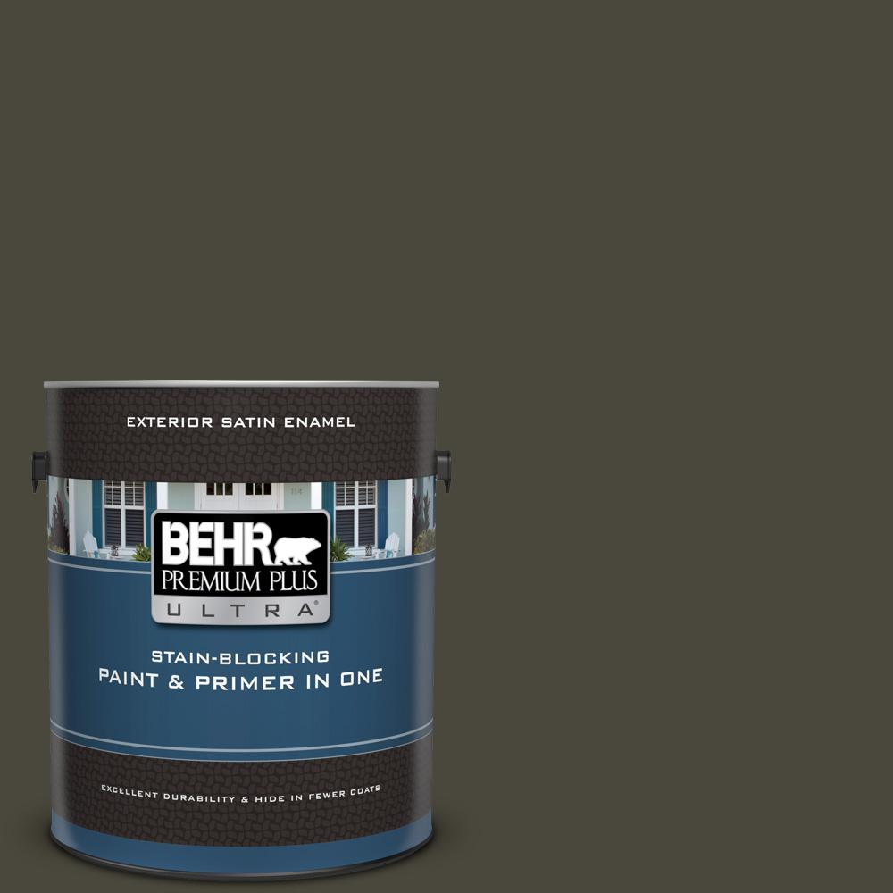 BEHR Premium Plus Ultra 1 gal. #PPU24-01 Black Mocha Satin Enamel Exterior Paint and Primer in One