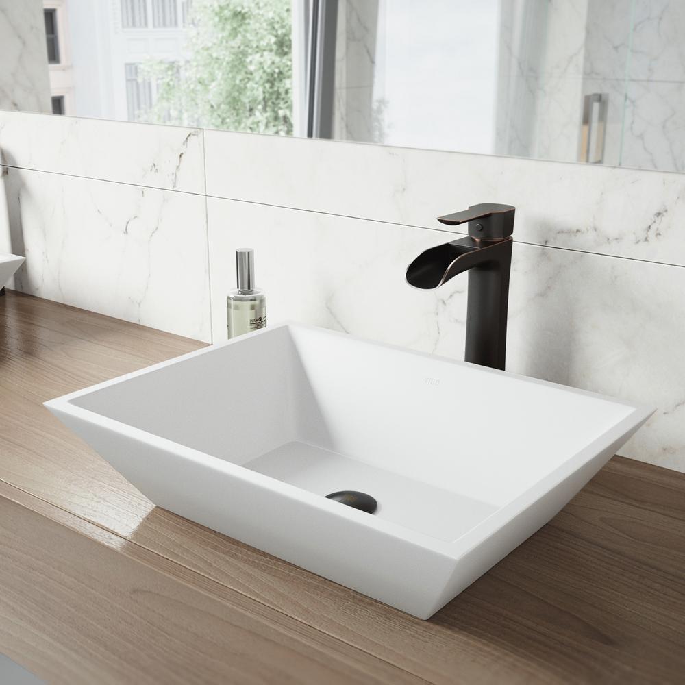 VIGO Vinca Matte Stone Vessel Sink in White with Niko Vessel Faucet in Antique Rubbed Bronze by VIGO