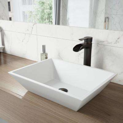 White Vinca Matte Stone Vessel Bathroom Sink in White with Niko Vessel Faucet in Antique Rubbed Bronze