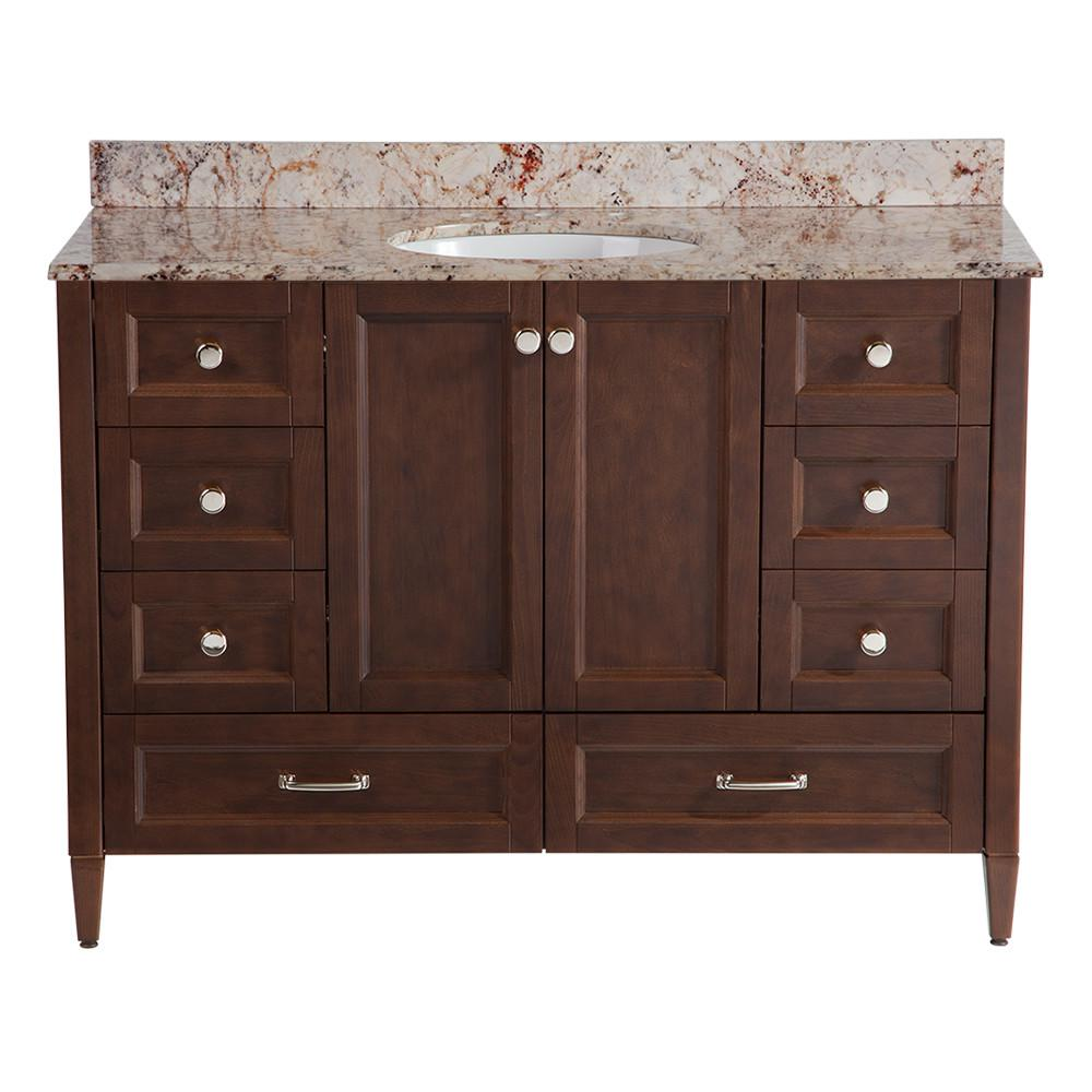 Home Decorators Collection Claxby 48 In W X In D Vanity In Cognac With Stone Effects