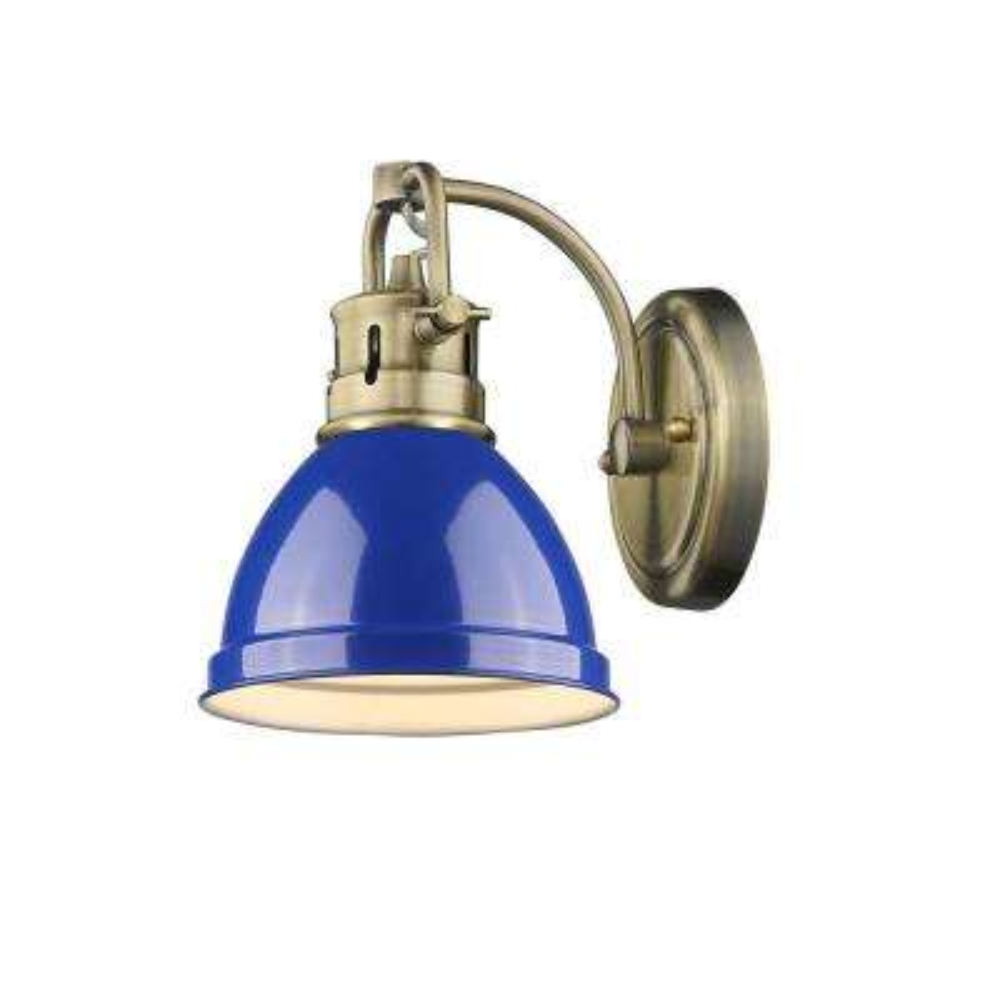 Duncan AB 1-Light Aged Brass Bath Light with Blue Shade