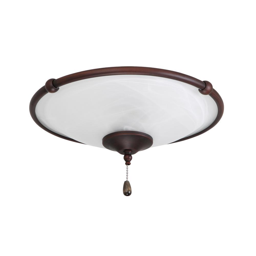 Low Profile Damp 3-Light Oil Rubbed Bronze Ceiling Fan Light Kit