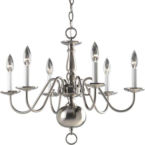 Americana Collection 6-Light Brushed Nickel Chandelier