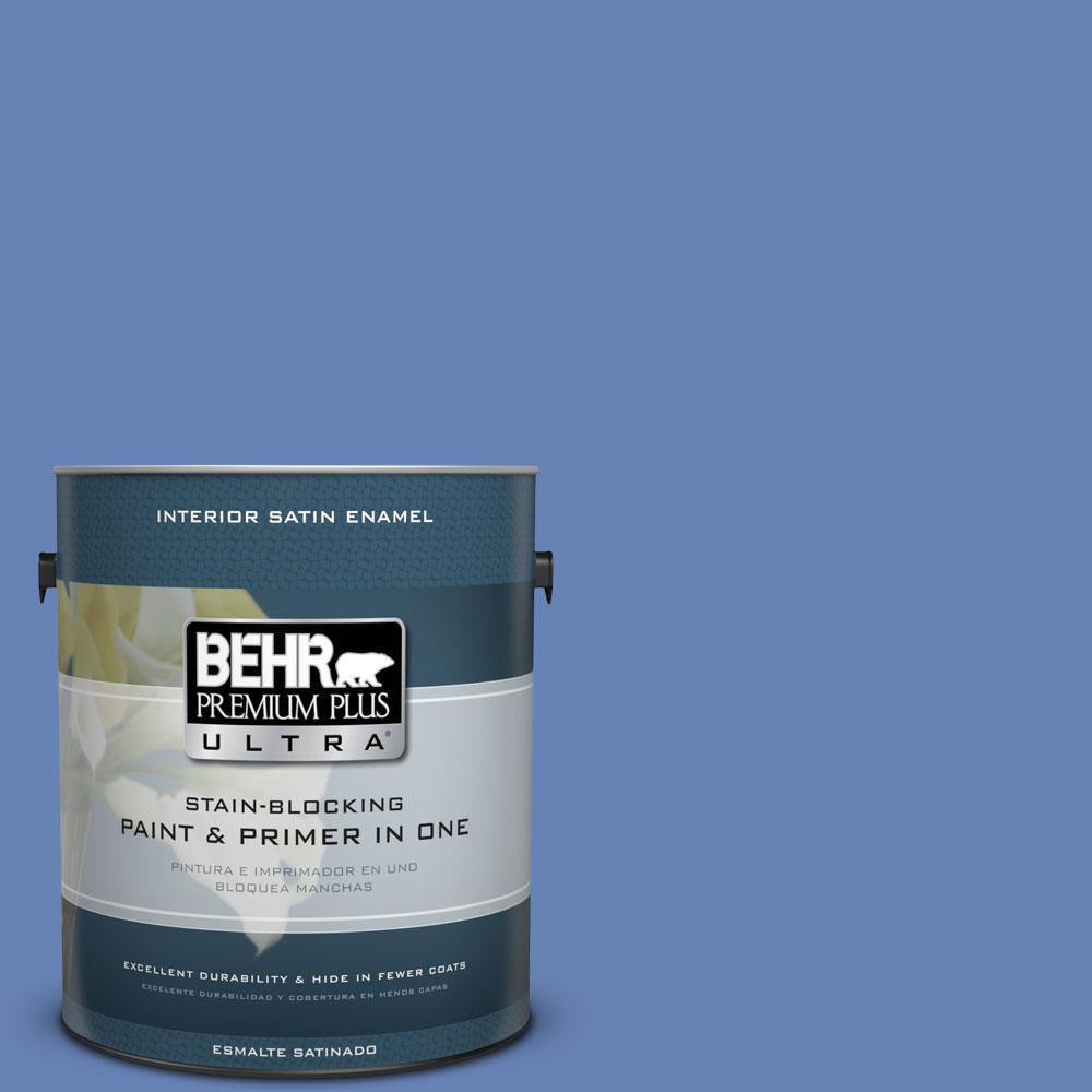 BEHR Premium Plus Ultra 1-Gal. #PPU15-6 Neon Blue Satin Enamel Interior Paint