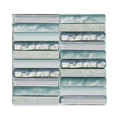 Avalanche 3 in. x 6 in. x 8 mm Mixed Materials Mosaic Floor and Wall Tile Sample