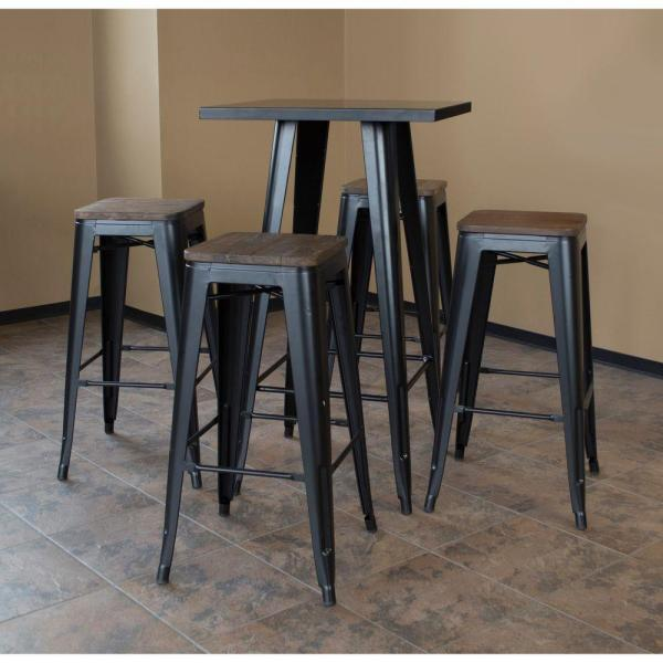 Amerihome Loft Style Bar Set With Black Metal Table Top And Dark Elm Wood Stools 5 Piece Bsset36 The Home Depot