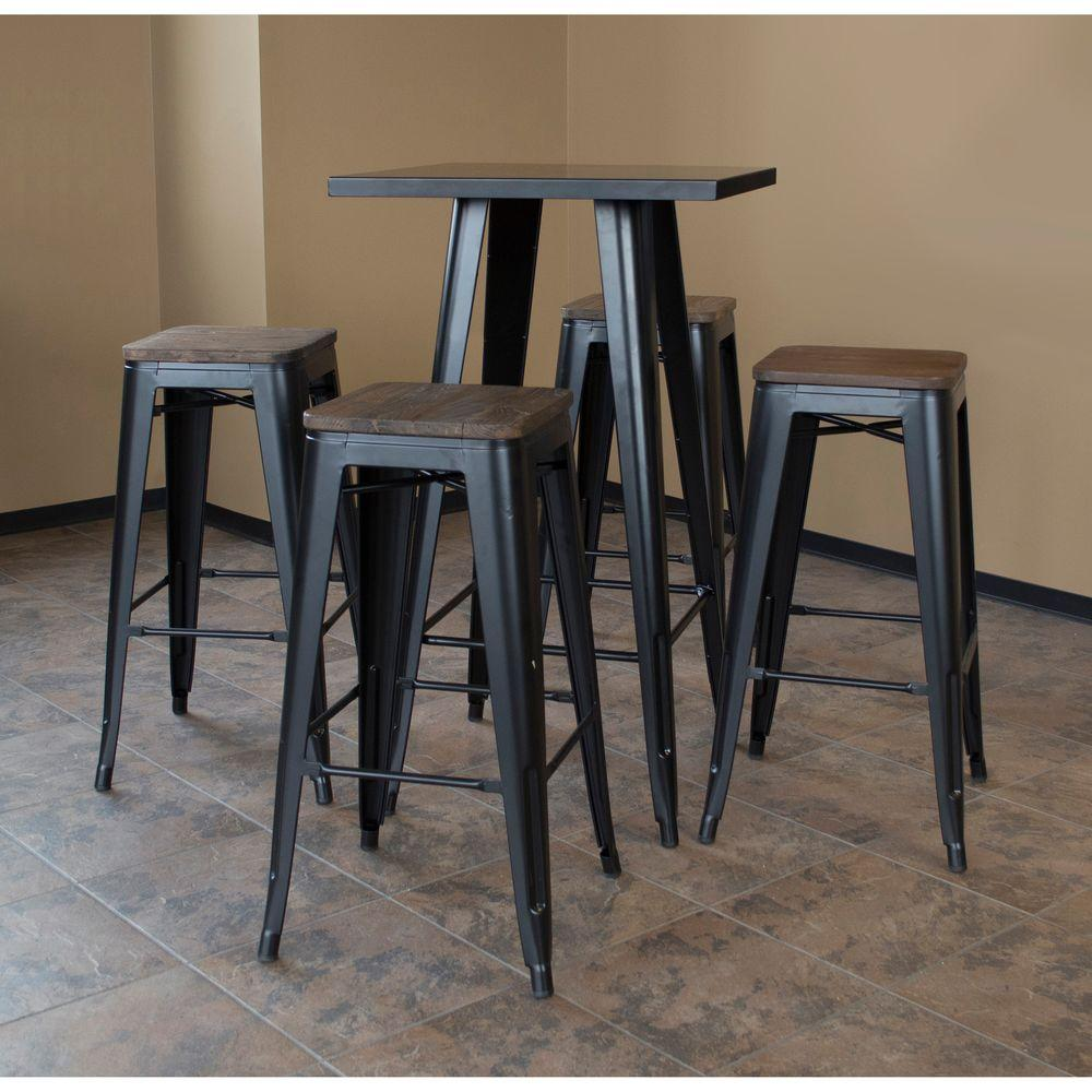 Amerihome Loft Style Metal Bar Table Set In Black With Dark Elm Wood Top 5 Piece Bsset36 The Home Depot