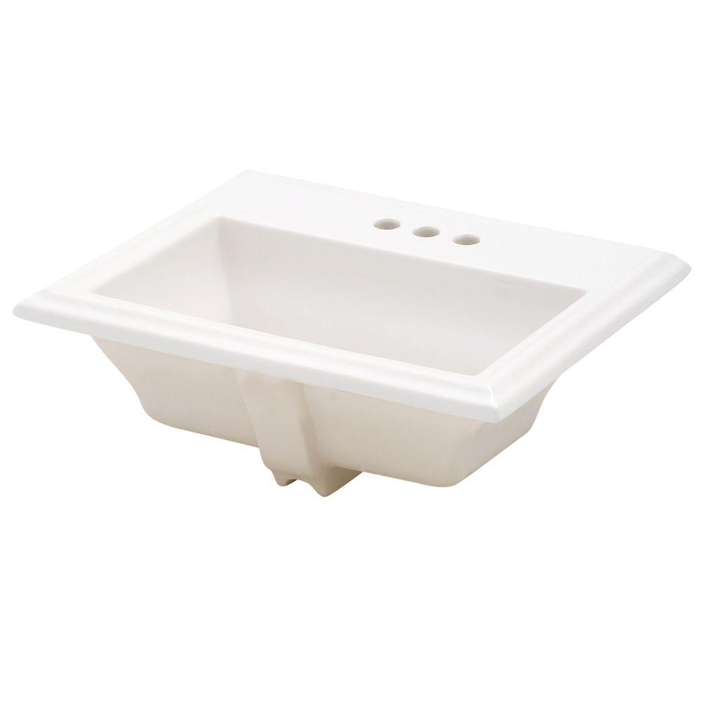 Town Square Self-Rimming Drop-In Bathroom Sink and in White
