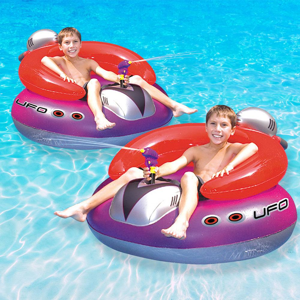 Swimline UFO Inflatable Spaceship Squirter Pool Toy Game (2-Pack)