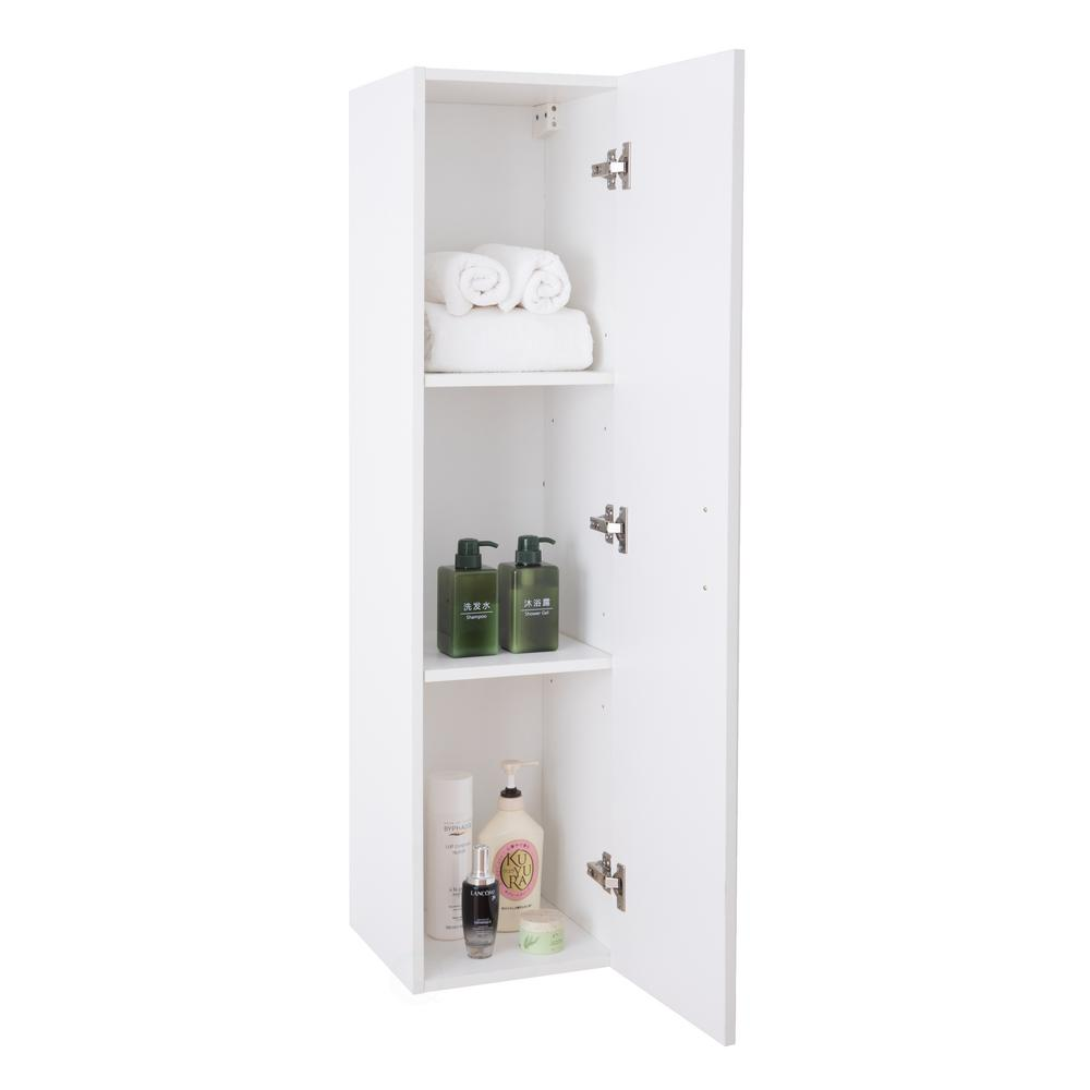 Basicwise Modern Long Bathroom Wall Mounted Cabinet In White