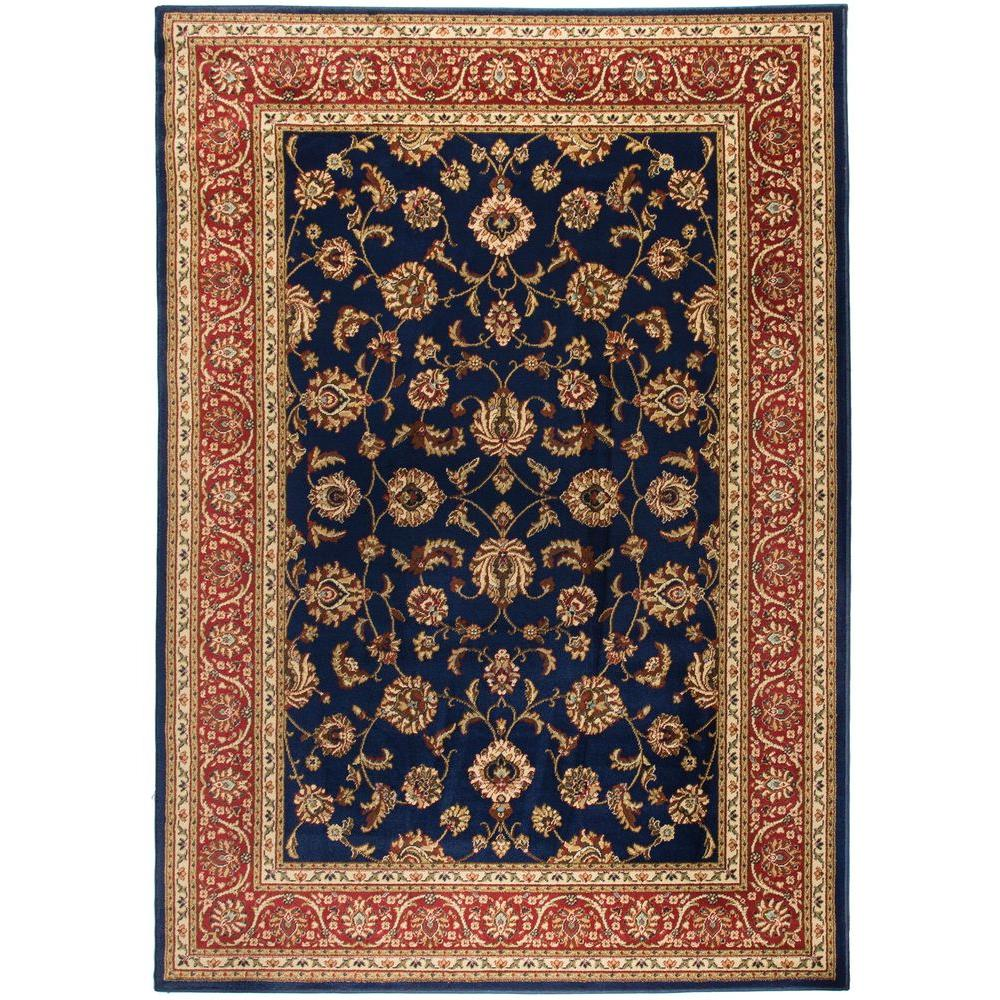 Well Woven Barclay Sarouk Navy 2 ft. 3 in. x 3 ft. 11 in. Traditional Floral Area Rug