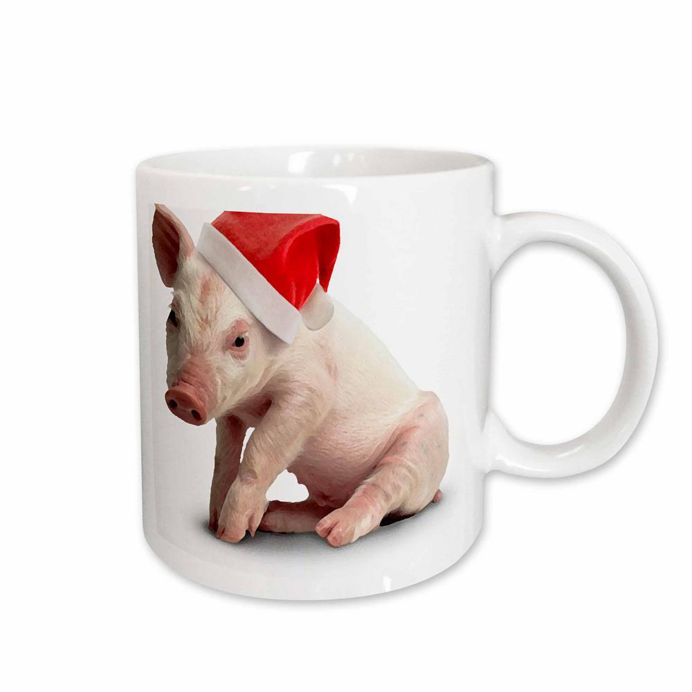 Holidays 11 oz. White Ceramic Christmas Pig Mug