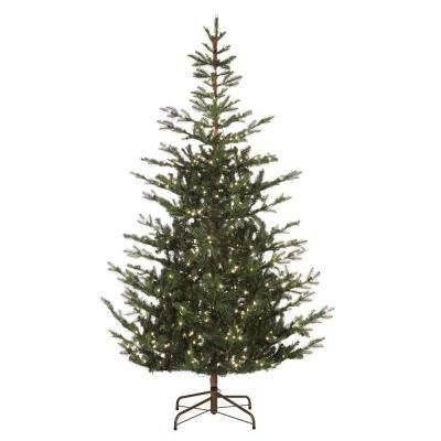 7.5 ft. Pre-Lit Feel Real Spruce Artificial Christmas Tree with 500 Clear Lights