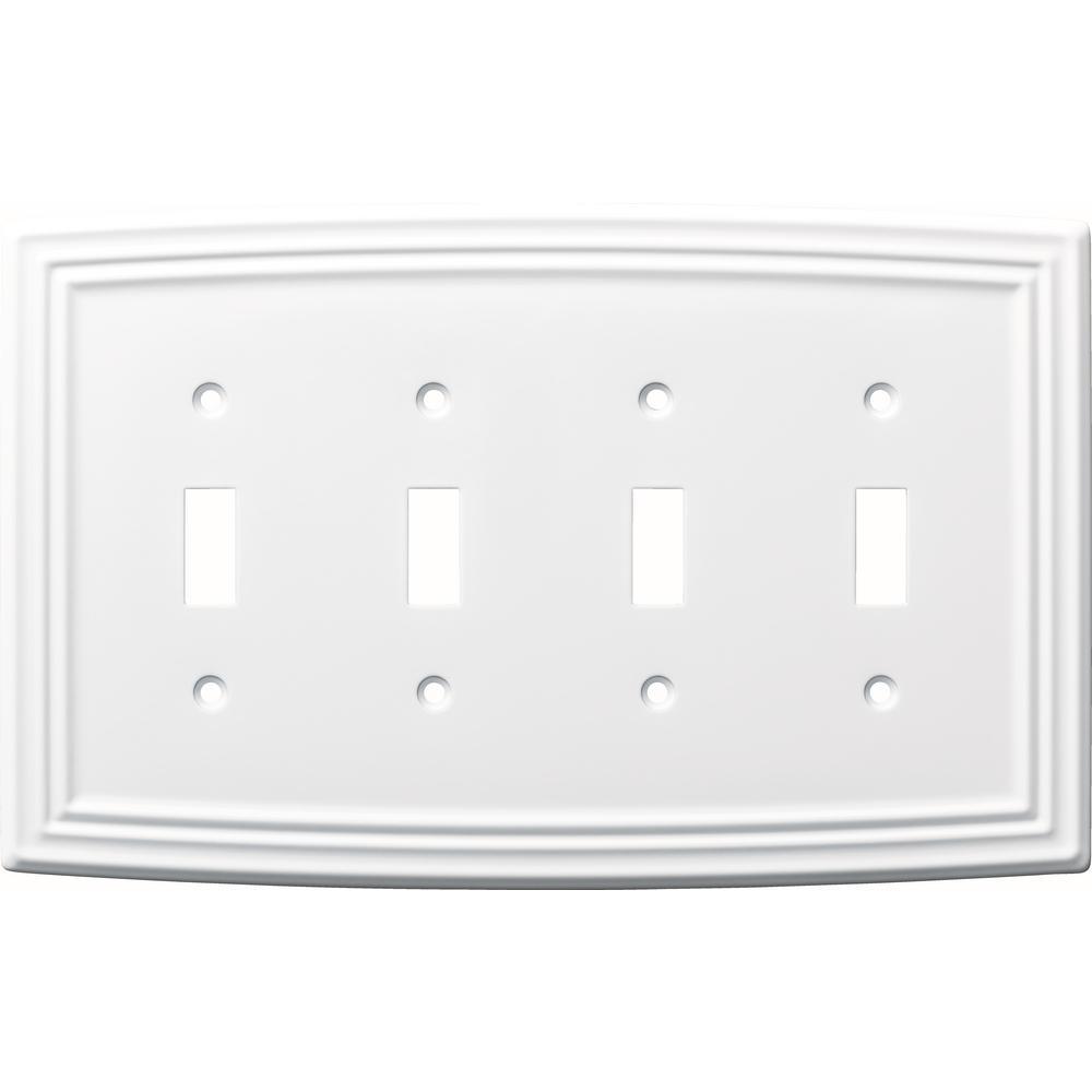 Liberty Emery Decorative Quadruple Light Switch Cover Pure White