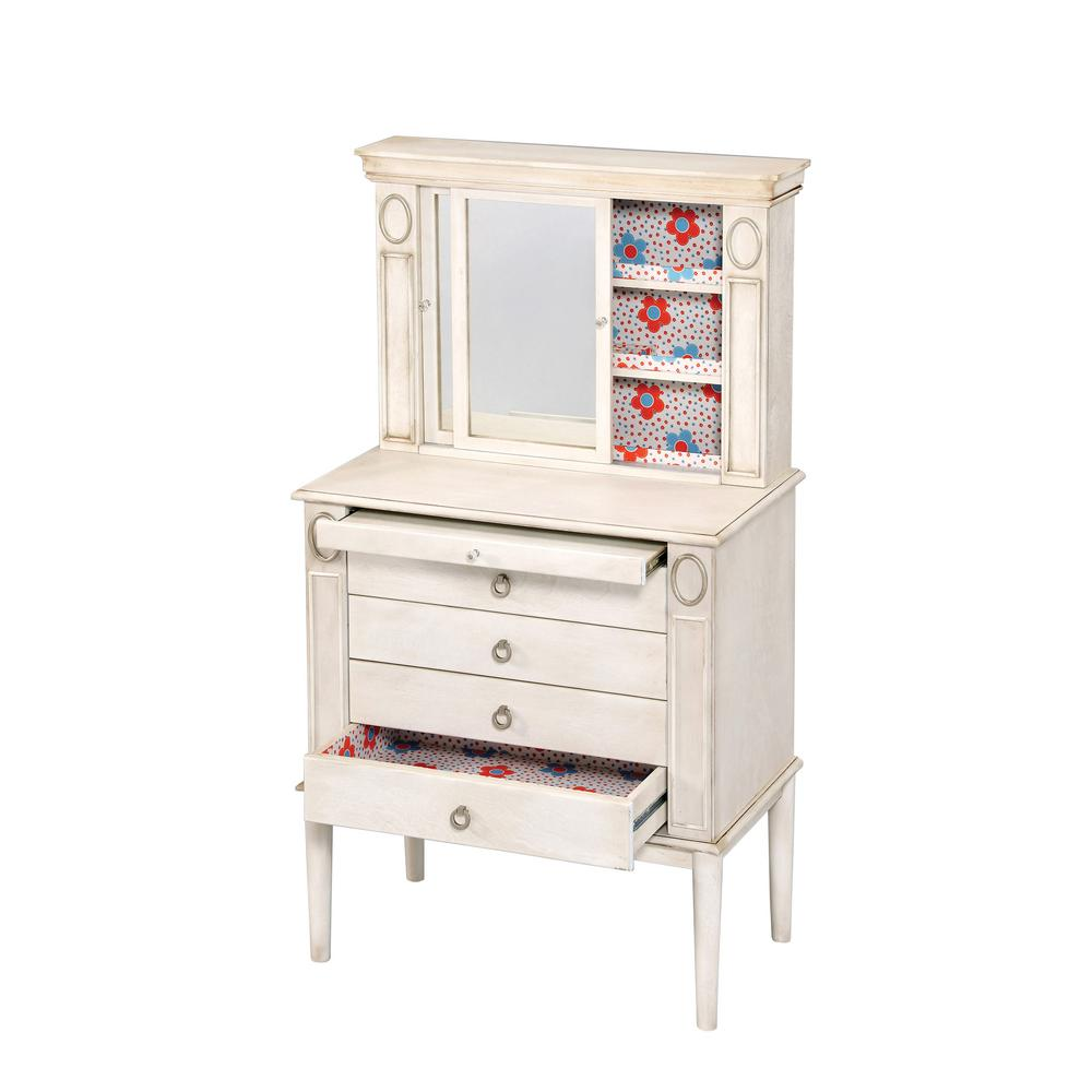 ACME Furniture - ACME Furniture Leven Jewelry Armoire, Antique White-97220 - The Home