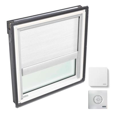 44-1/4 in. x 45-3/4 in. Fixed Deck Mount Skylight with Laminated Low-E3 Glass, White Solar Powered Light Filtering Blind