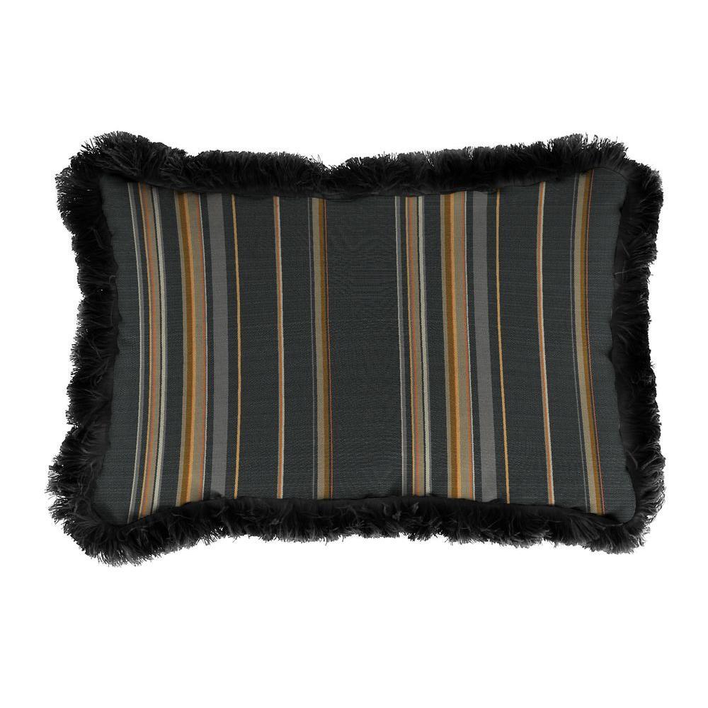 Sunbrella 19 in. x 12 in. Stanton Greystone Lumbar Outdoor Throw Pillow with Black Fringe