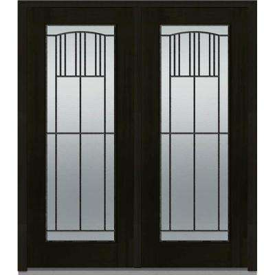64 in. x 80 in. Madison Right-Hand Inswing Full Lite Decorative Glass Stained Fiberglass Mahogany Prehung Front Door