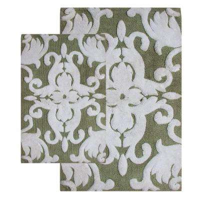 20 in. x 32 in. and 23 in. x 39 in. 2-Piece Iron Gate Bath Rug Set in Green and White