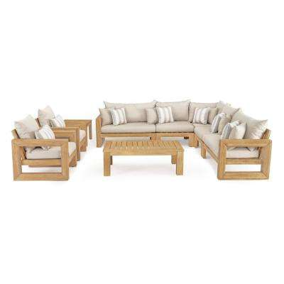 Benson 9-Piece Wood Patio Sectional Seating Set with Slate Grey Cushions