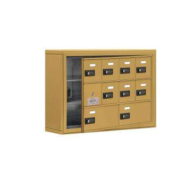 19100 Series 30.5 in. W x 20 in. H x 6.25 in. D 9 Doors Cell Phone Locker S-Mount Resettable Locks in Gold