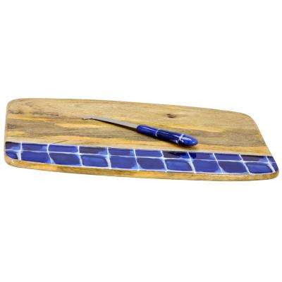 Mozambique Enameled Wood Cutting Board with 6 in. Cheese Knife