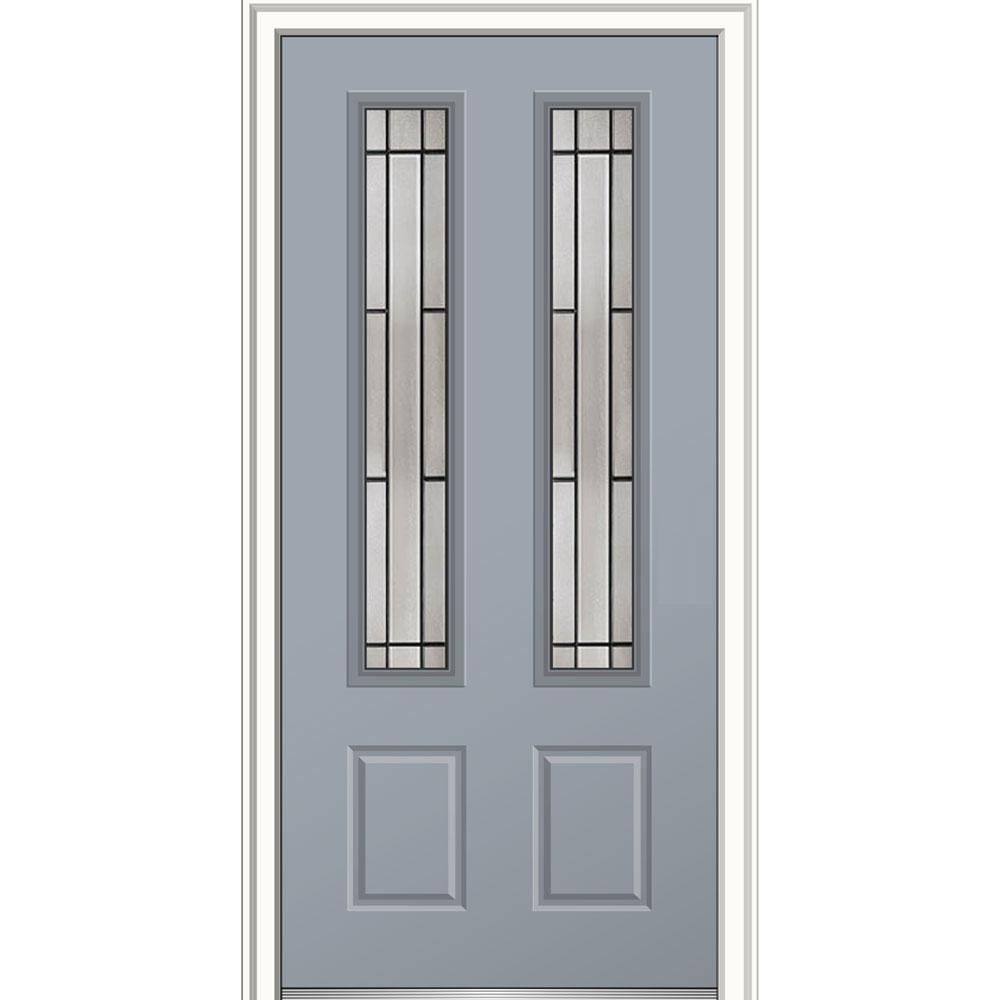 Mmi door 32 in x 80 in solstice glass storm cloud right for Prehung exterior doors with storm door