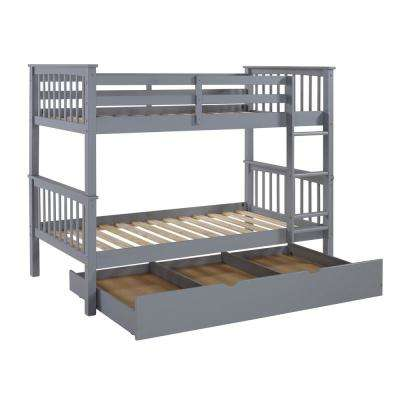 Solid Wood Grey Twin Bunk Bed with Trundle Bed