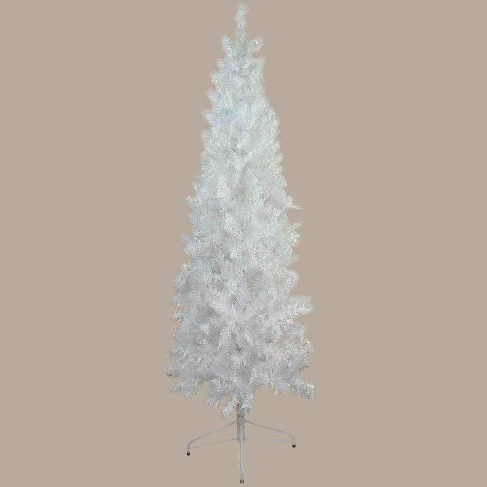 unlit white glimmer iridescent spruce pencil artificial christmas