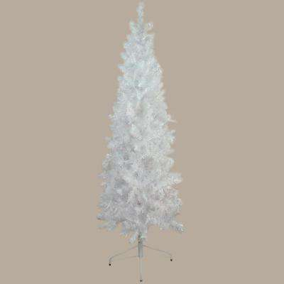 7.5 ft. x 34 in. Unlit White Glimmer Iridescent Spruce Pencil Artificial Christmas Tree