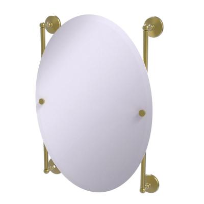 Monte Carlo Collection Oval Frameless Rail Mounted Mirror in Satin Brass