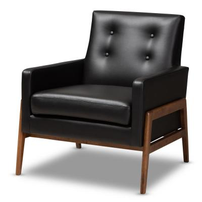 Perris Black Faux Leather Lounge Chair