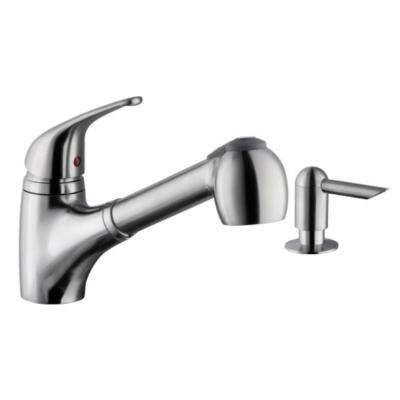 Low Profile Single-Handle Pull-Down Sprayer Kitchen Faucet with Soap Dispenser in Brushed Nickel