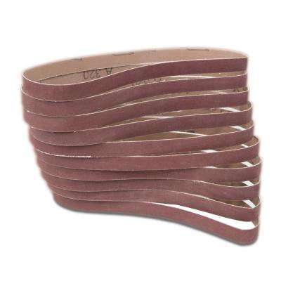 320-Grit 1/2 in. x 18 in. Sanding Belt Sandpaper (10-Pack)