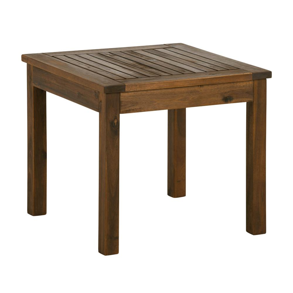 Walker edison furniture company dark brown square acacia wood outdoor side table