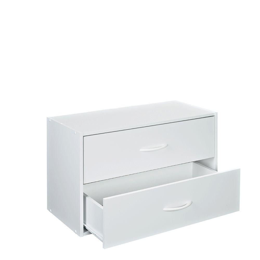24.13 in. W x 15.75 in. H White Stackable 2-Drawer Organizer