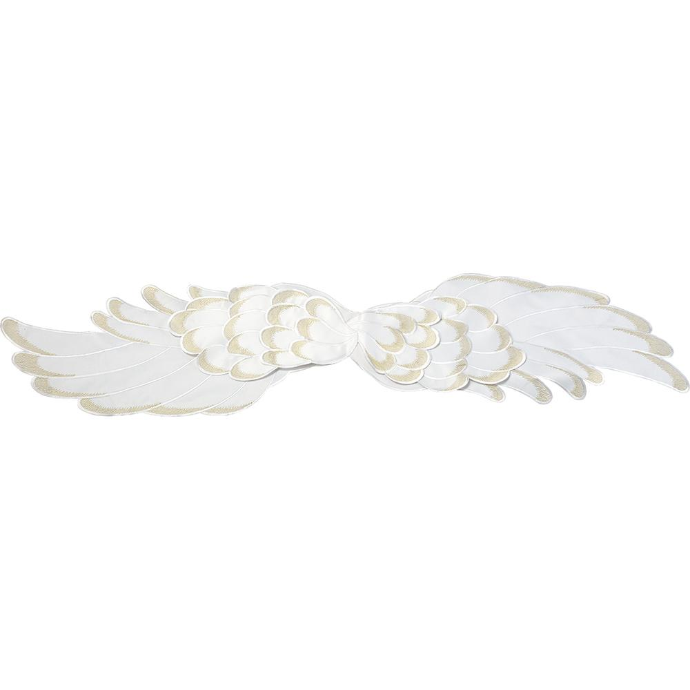 68 in. x 14 in. Cream Angel Wings White and Gold