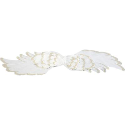 68 in. x 14 in. Cream Angel Wings White and Gold Wide Polyester Table Runner