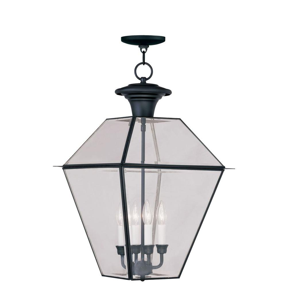 Livex Lighting Providence 4-Light Black Outdoor Incandescent Hanging Lantern