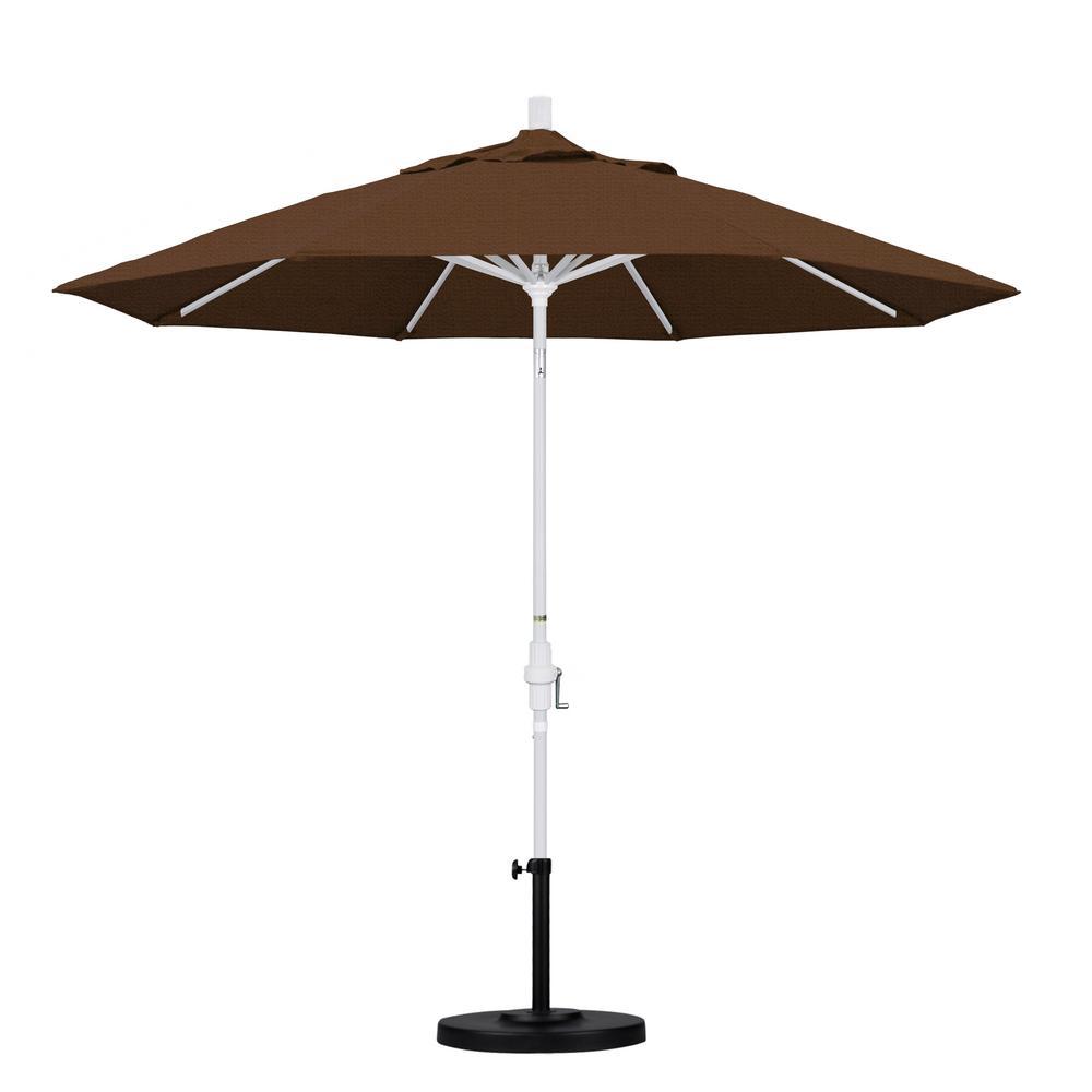 California Umbrella March Products GSCU908170-F71 9 ft. Aluminum Market Umbrella Collar Tilt - Matted White - Olefin - Teak