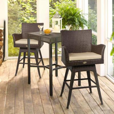Rattan Crawford Swivel Wicker Outdoor Bar Stool Patio Set with Sunbrella Ivory Cushions (2-Pack)