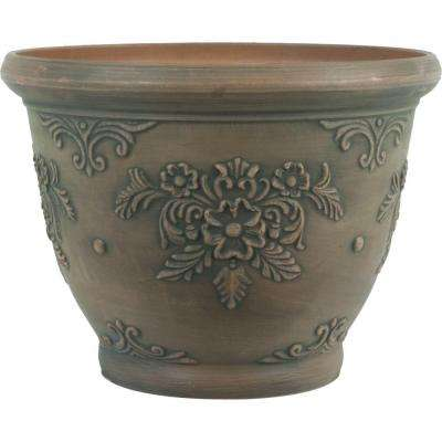16 in. Dia Floral Brown Plastic Planter