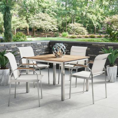Aruba Silver Stainless Steel & Solid Wood Teak Square Outdoor Dining Table